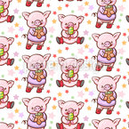 Süßes Schweinchen Nahtloses Muster