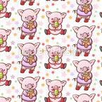 Süßes Schweinchen Nahtloses Vektormuster
