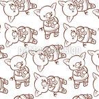 Schweinchen Durcheinander Nahtloses Vektor Muster