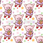 Piggy With Ice Cream Vector Pattern