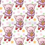 Schweinchen Mit Eiscreme Vektor Muster