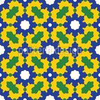 Mosaico Floral Árabe Design de padrão vetorial sem costura