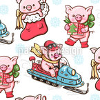 Cartoon Piglets Vector Ornament