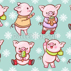 Cartoon Piggy With Ice Cream Seamless Pattern