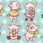 Cartoon Schweinchen mit Eiscreme Nahtloses Muster