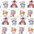 Piggies At Christmas Shopping Seamless Vector Pattern