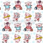 Piggies Beim Weihnachtseinkaufen Nahtloses Vektor Muster