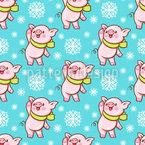 Glückliches Schweinderl im Schnee Vektor Muster