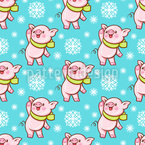 Happy Piggy In The Snow Vector Pattern