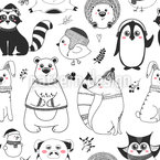 Winter Animals Seamless Vector Pattern Design