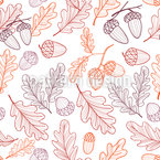 Oak In Autumn Seamless Vector Pattern