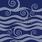 Waves And Twirls Seamless Vector Pattern Design