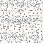 Christmass Season For Piglet Seamless Vector Pattern