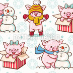 Christmass Time For Piglet Vector Pattern