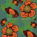 Vício de Papoula Design de padrão vetorial sem costura