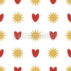 Suns And Hearts Seamless Pattern