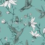 Vögel Und Lilienblumen Nahtloses Vektormuster