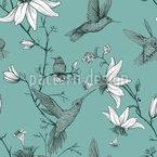Vögel und Lilienblumen Vektor Ornament