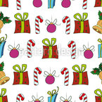 Christmas Presents And Candy Sticks Vector Pattern