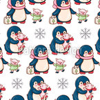 Winter Penguins And Pigs Repeat Pattern