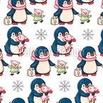 Winter Pinguine und Schweine Rapportmuster