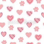Sweet Heart Shapes Seamless Vector Pattern Design