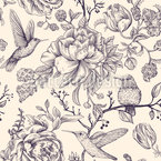 Colibri and Flowers Repeat Pattern