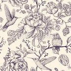 Kolibri Und Blumen Nahtloses Vektormuster