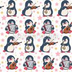 Nette Musikalische Pinguine Nahtloses Vektormuster