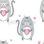 Liebevolle Katzen Nahtloses Vektormuster