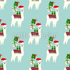 Christmas Llamas Seamless Pattern