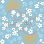 Eastern Magic Blue Seamless Vector Pattern Design
