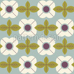 Flowers In Retro Style Repeat Pattern