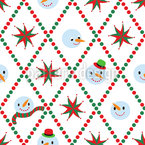 Festive Snowman Seamless Vector Pattern Design