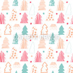 Winter Firs Seamless Vector Pattern