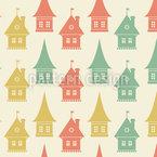 Stadthäuser Nahtloses Vektormuster