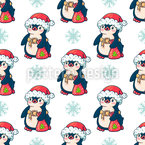 Penguin Santa Repeating Pattern