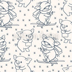Skiing Pigs Seamless Vector Pattern Design