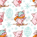Winter Holidays Pigs Pattern Design