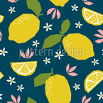 Zitronen uUnd Flora Vektor Ornament