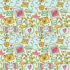 Flying Love Letters For You Repeat Pattern