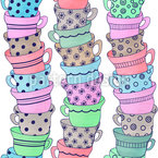 Watercolor Cups Seamless Vector Pattern Design