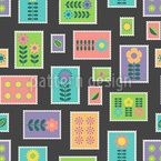 Florale Postmarken Rapportmuster