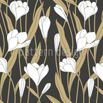 Crocus Bloom Seamless Vector Pattern Design