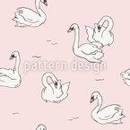 手描き白鳥 シームレスなベクトルパターン設計