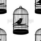Vögel Im Käfig Nahtloses Vektormuster