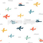 Flugzeuge und Hubschrauber Nahtloses Vektormuster