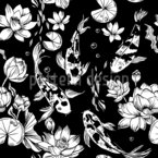 Koi-Karpfen und Wasserlilien Nahtloses Vektor Muster