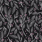 Delicate Berry Twigs Seamless Vector Pattern Design