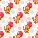 風船と面白い漫画の子猫 シームレスなベクトルパターン設計